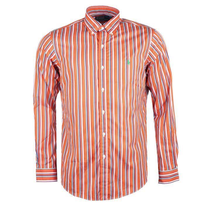 ebc872eb4de Chemise rayée manches longues Casual - Homme Ralph Lauren (Orange ...