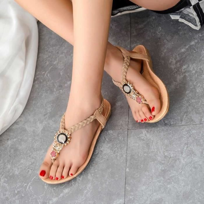 sandales femmes de la mode Bohème bande élastique en cuir plates