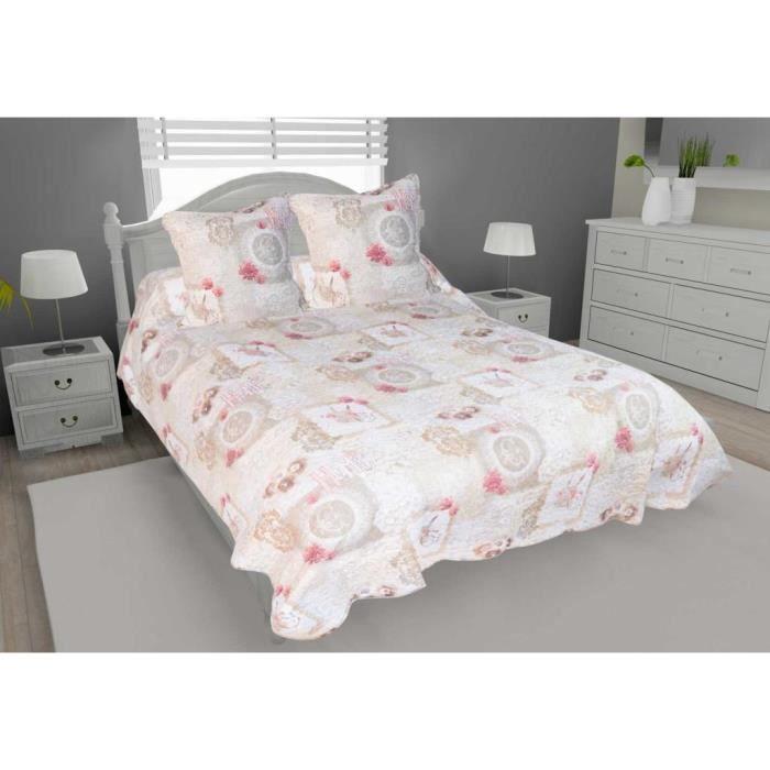couvre lit boutis matelass 220x240 cm valence avec 2 taies d 39 oreiller boutis imprim matelass. Black Bedroom Furniture Sets. Home Design Ideas