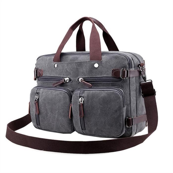 Canvas Messenger Bag pour hommes et femmes, Fits 14  Ordinateur portable, Gris