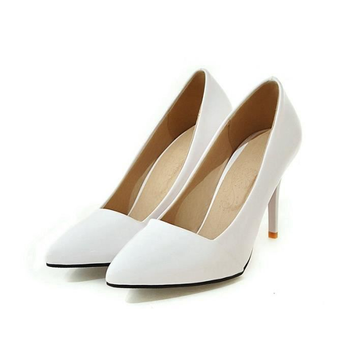 Elgante Cheville blanc Hauts Bleu Aiguille Talon Pointus Escarpins Bride Femme Soire qUInwF6