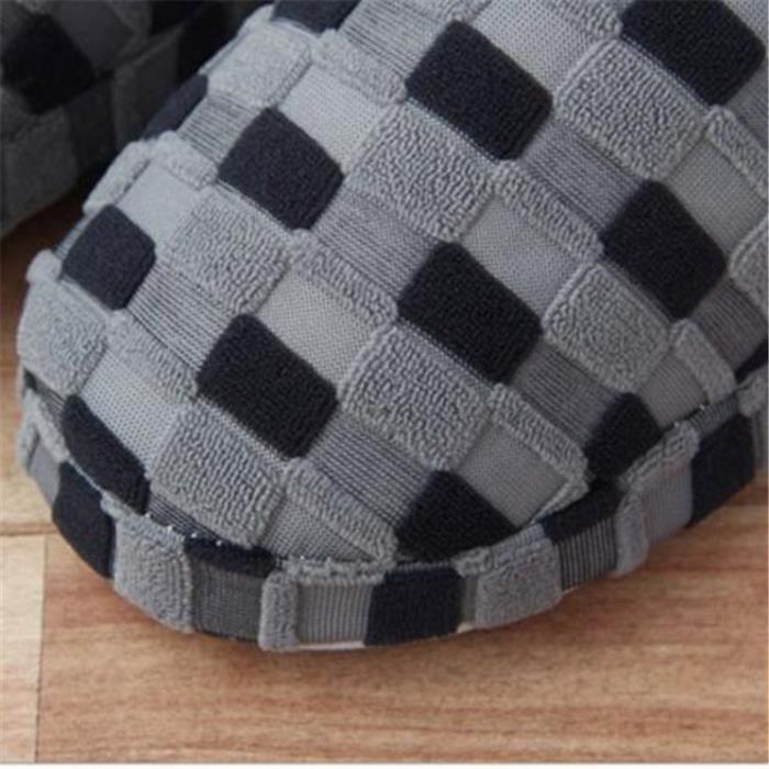 Pantoufle Homme De Marque De Luxe Haut qualité 2017 Nouvelle Mode Plus De hiver grille style Coton Chausson Grande Taille 42-45