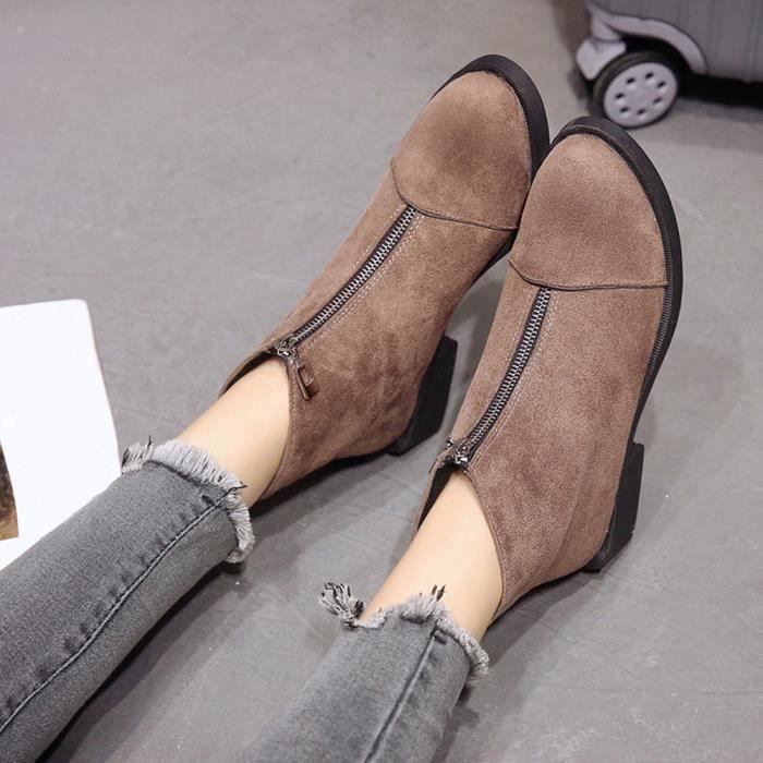 Zipper Solide Martain En Daim Talon Bout Carré Couleur À friendprice2286 Chaussures Bottes Femmes Rond wz6xq8