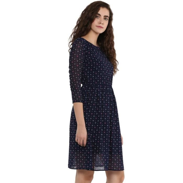 Womens Navy Blue Printed Georgette A Line Dress EVKQO Taille-38