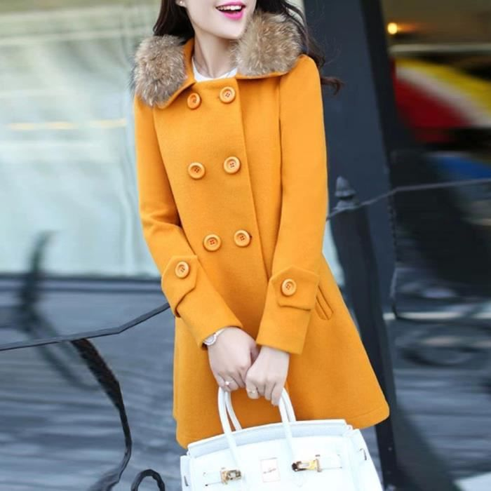 Parka Col Pardessus Fourrure Manteau Veste Cardigan jaune Slim Casual Chaude Outwear De Femmes Caban gZxqT