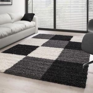 Tapis carreaux noir blanc achat vente pas cher - Tapis shaggy noir et blanc ...