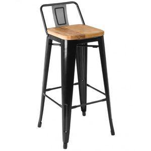 Chaise De Bar En Métal Noir Et Assise En Bois De Frêne Style