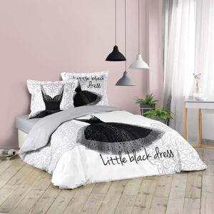HOUSSE DE COUETTE ET TAIES CDAFFAIRES-Parure de lit 240 x 220 cm imprime Blac