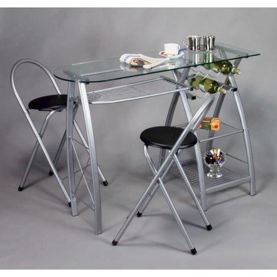 Bar De Cuisine En Verre table de cuisine-bar, plateau en verre avec tabour - achat / vente