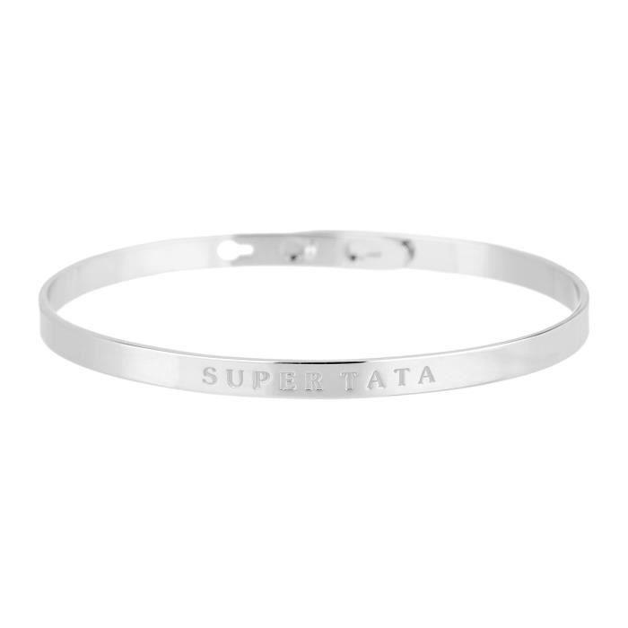 """BIJOUX MESSAGE - Bracelet """"Super Tata"""" Laiton argenté - FemmeBRACELET - GOURMETTE - JONC"""