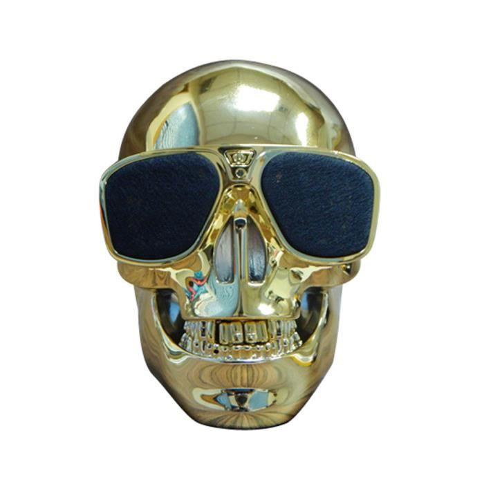 Crâne En Plastique Métallique Forme Sans Fil Bluetooth Subwoofer Haut-parleur Mobile @bat7288