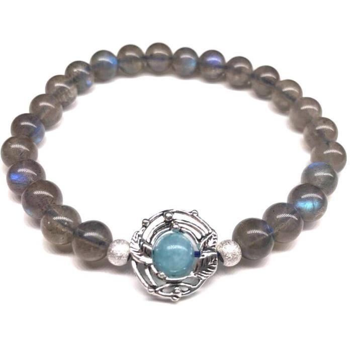 regarder 26329 4d1b9 Bracelet de Labradorite Pierre Gemme de Lune Reflet Bleu Naturel, avec  Micro d'Argent Sterling 925 Bijoux Lithotherapie-Cadeau Femme