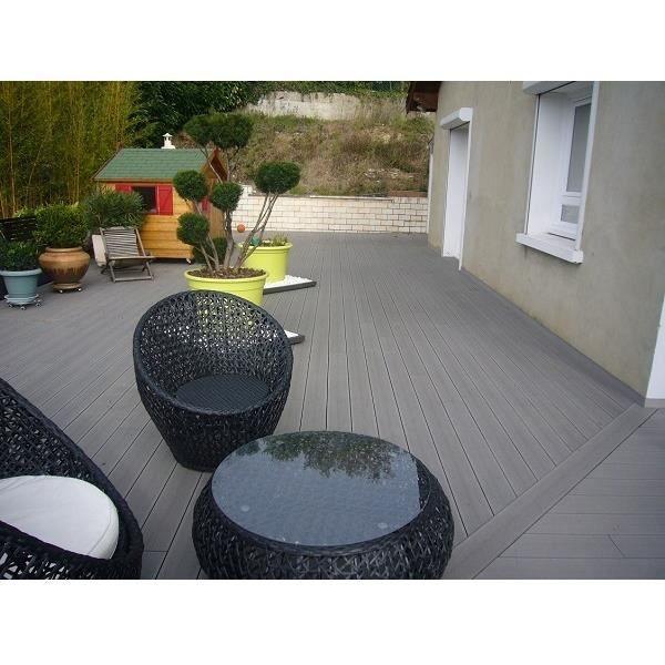 REVETEMENT EN PLANCHE KIT COMPLET Terrasse Composite   Gris Anthracite (