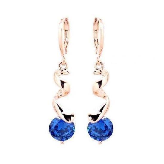 CO® Boucles d'Oreille Pendantes Tourbillon Cristal Bleu Saphir Or Jaune Laminé*