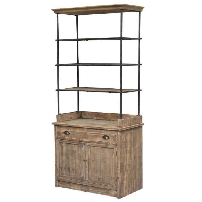 meuble etagère bibliothèque boulangère bois 189 cm - achat / vente