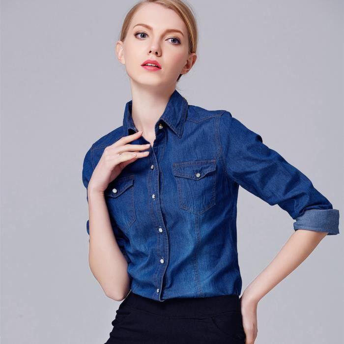 Femmes Denim Col Manches Rabattu Collection Nouvelle Shirt Longues kiPZOuXT