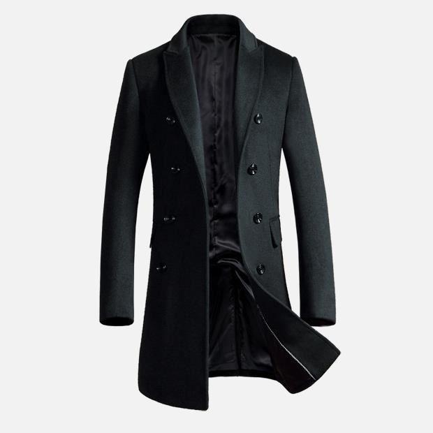 987827ffa7ae Manteau Laine Business Homme Noir Hiver Marque Luxe Longue Pour Hommes V-cou  double breasted button Veste Slim Fit Homme Vin Roug.