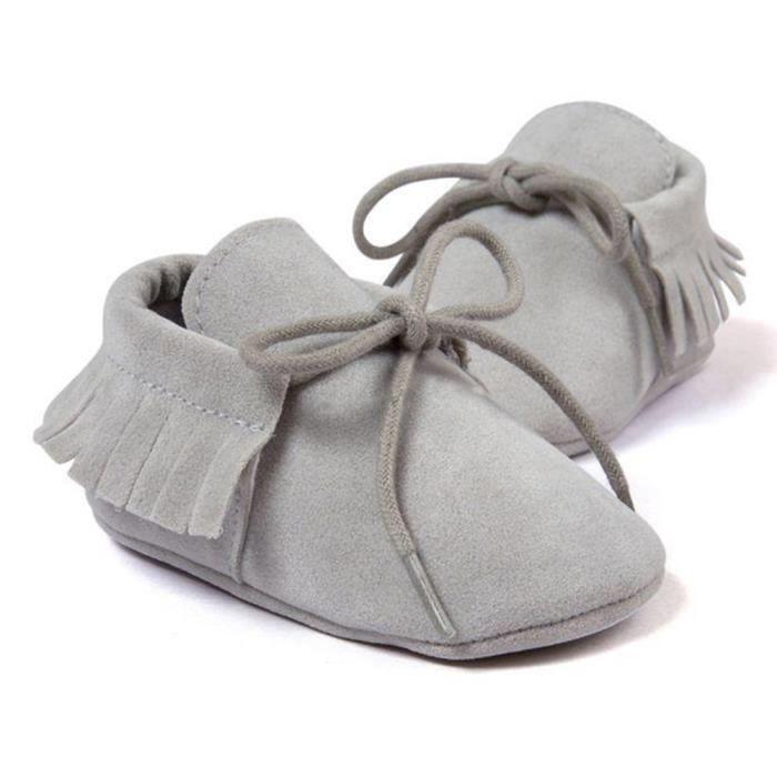 Enfants garçon fille bébé Chaussures Infant Toddler Tassel lacets Chaussures Gris MZmkP