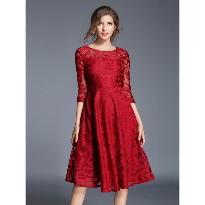 millésime robe des femmes xcky o cou évidé dentelle aline robe midi
