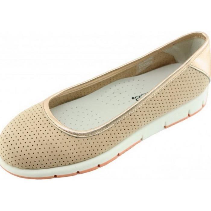 Front - chaussures sport femme ballerines super flexible confort pieds sensibles antidérapantes souple aérobics nubuck beige