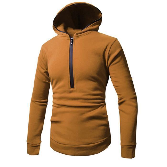 Sweat-shirt à capuche à demi zip couleur uni homme à manches longues ... eb399734f623
