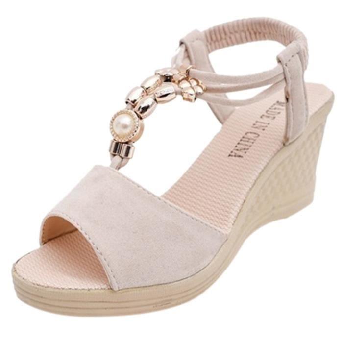 Cordes Veberge Chaussures Romaines Bead 7903 Femmes Sandales Compensées Mode gwqxFER