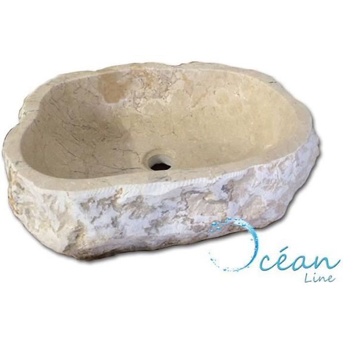 vasque en pierre pas cher LAVABO - VASQUE Vasque en pierre, forme libre 45-50 cm - Erosio Cr