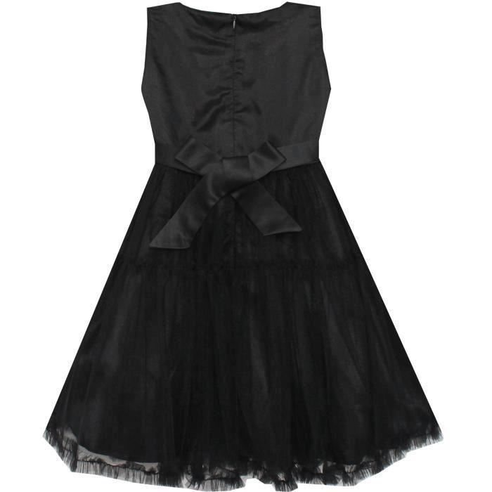 Robe Fille Shinning Paillettes Tulle Couches Partie Reconstitution historique Noir 2-10 ans