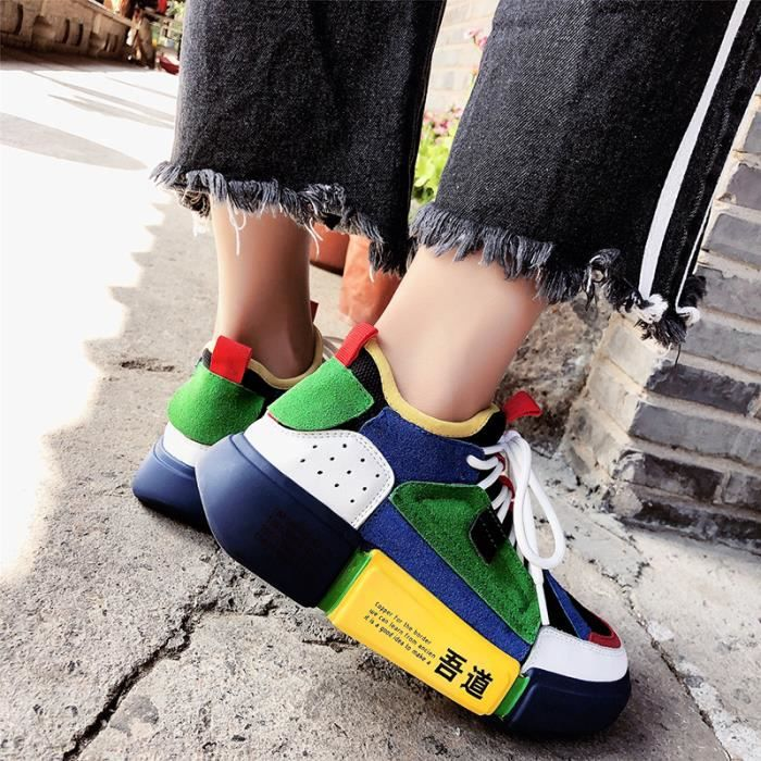 Basket Sport Chaussures gris Sneakers Vert Femme Mode De BxqFB4rn