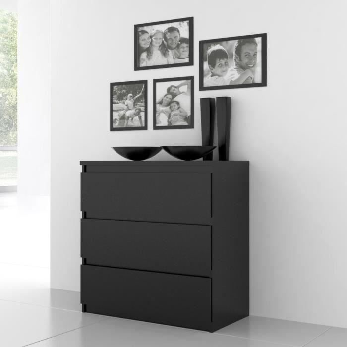 Panneaux de particules noir - L 77,2 x P 42,2 x H 79,9 cm - 3 tiroirs - Fabrication européenneCOMMODE DE CHAMBRE