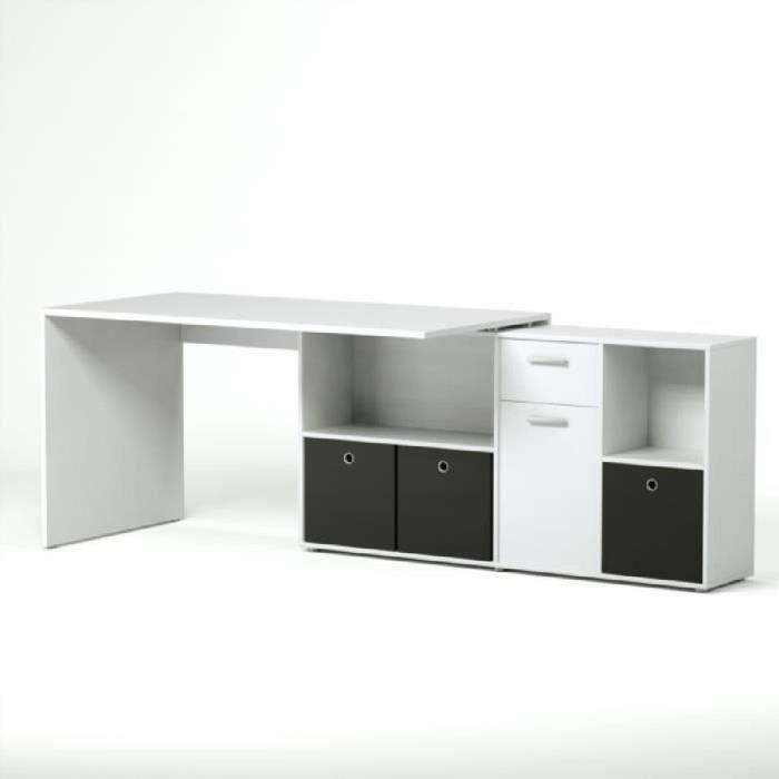 Zito bureau angle reversible contemporain blanc l 136 cm - Ventes privees mobilier contemporain chez westwing ...
