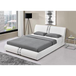 DOHA Lit Adulte Contemporain Simili Blanc Sommier Inclus L - Cadre de lit moderne