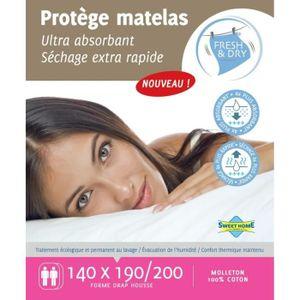 SWEET HOME Prot?ge-matelas Tendre nuit Fresh and Dry 140x190/200 cm blanc