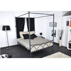 STRUCTURE DE LIT SWEET Lit baldaquin classique en métal noir mat -