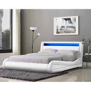neptune lit adulte avec led 140x190 cm sommier blanc achat vente structure de lit. Black Bedroom Furniture Sets. Home Design Ideas