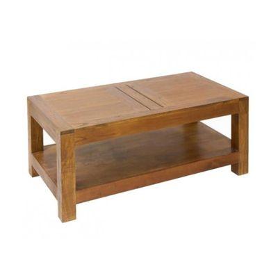table basse salon bois exotique clair style colonial 110cm - achat