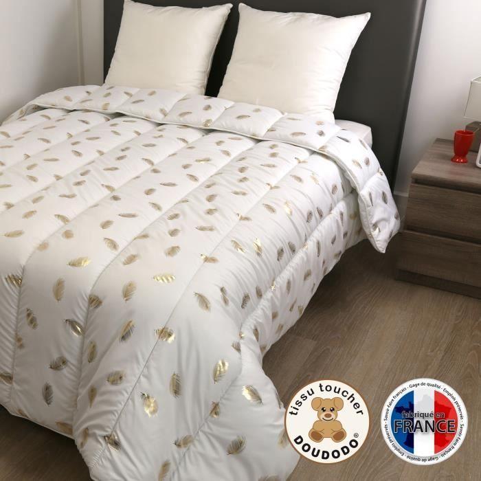 DODO Couette chaude 400 gr/m² COLETTE - 140x200 cm - Blanc imprimé Plumes dorées