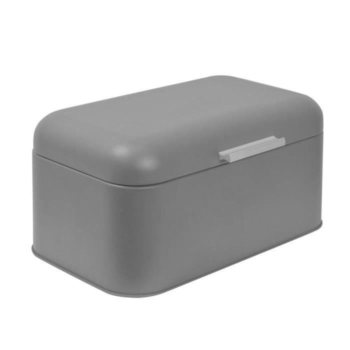 FRANDIS Boîte à pain rectangulaire - Métal - Gris mat