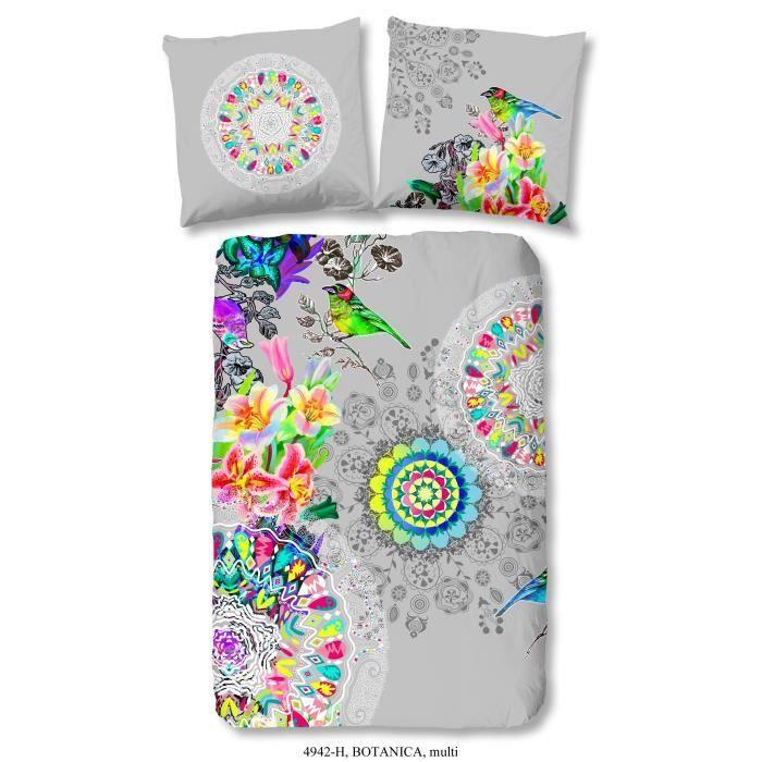 Matériau : 100% coton - Dimension : 140x200 cm/60x70 cm - Coloris : multicolore - Fibre naturellePARURE DE COUETTE