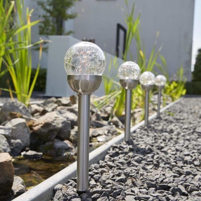 Eclairage d\'allees Luxform Lampe LED solaire a piquet de jardin ...