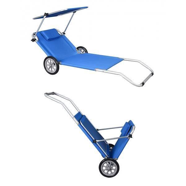 Transat chaise longue de plage roulettes malibu achat for Transat de plage pliant