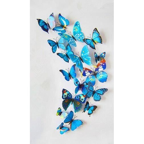 12 pi ces 3d stickers papillon bleu type 2 d coration for Decoration murale papillon 3d
