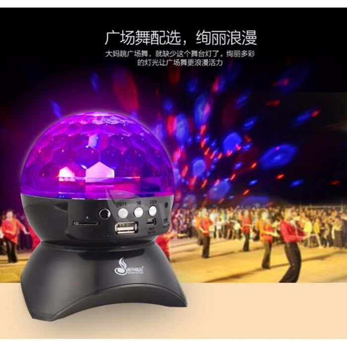 Mini Stade Cristal Clair Boule Magique Sans Fil Bluetooth Haut-parleur Portable Carte Sonore Led Lumière Fm Radio U Disque Étage Dif