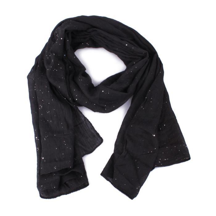 Echarpe noire paillettes et étoiles argentées Coindesfilles Noir ... ec96cced94a