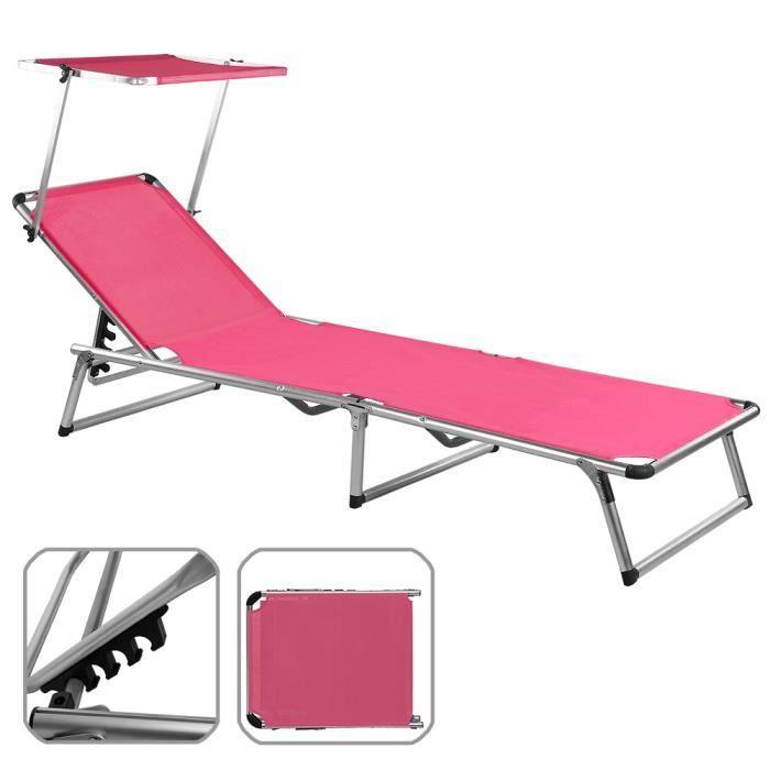 Chaise longue de jardin rose pliante aluminium achat - Chaise longue de camping pliante ...