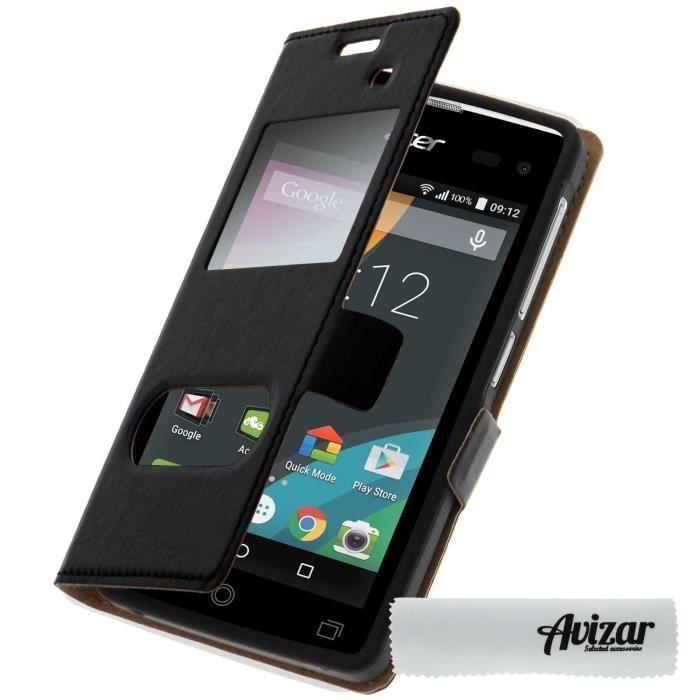 Housse Etui Double Fenetre Acer Liquid Z220 Noir