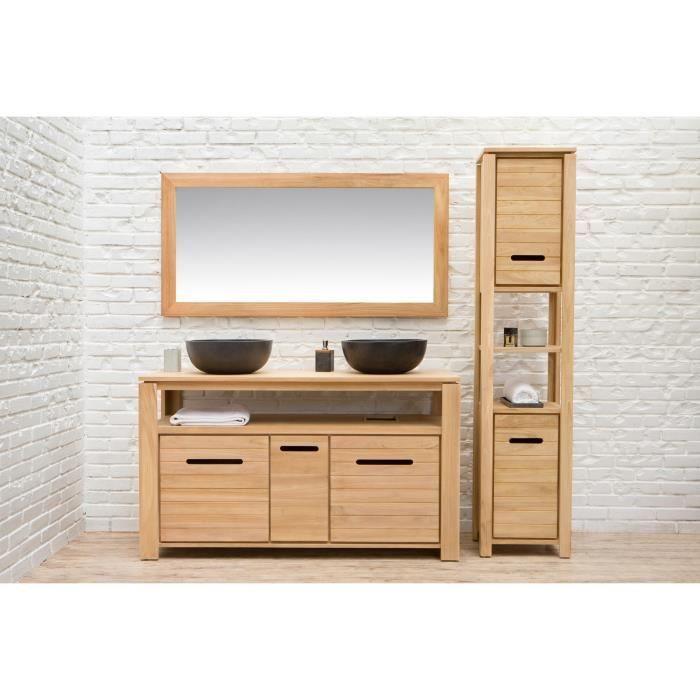 MOREA Ensemble salle de bain en bois teck massif double vasque L 140 ...