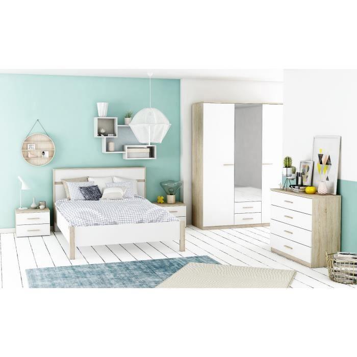 Chambre complète selena chambre complète décor chêne brossé et blan