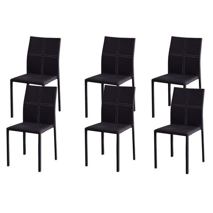 lot de 6 chaises empilables noires desire achat vente. Black Bedroom Furniture Sets. Home Design Ideas