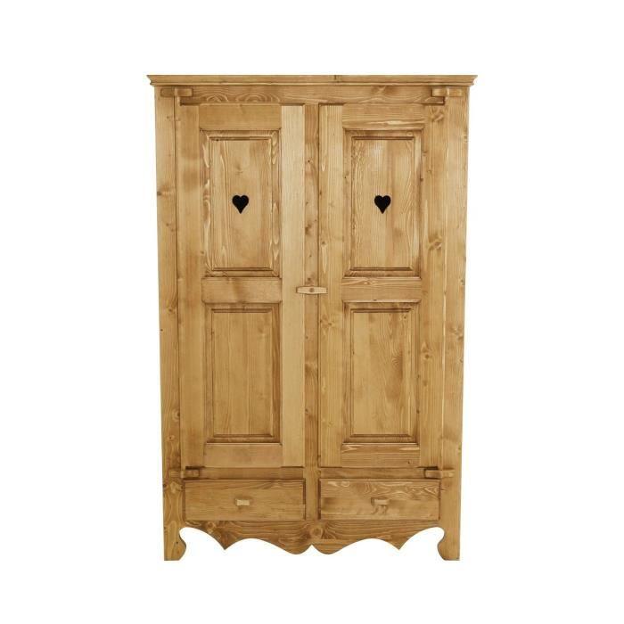 Armoire pin massif 2 portes 2 tiroirs Oregon - Achat / Vente armoire ...
